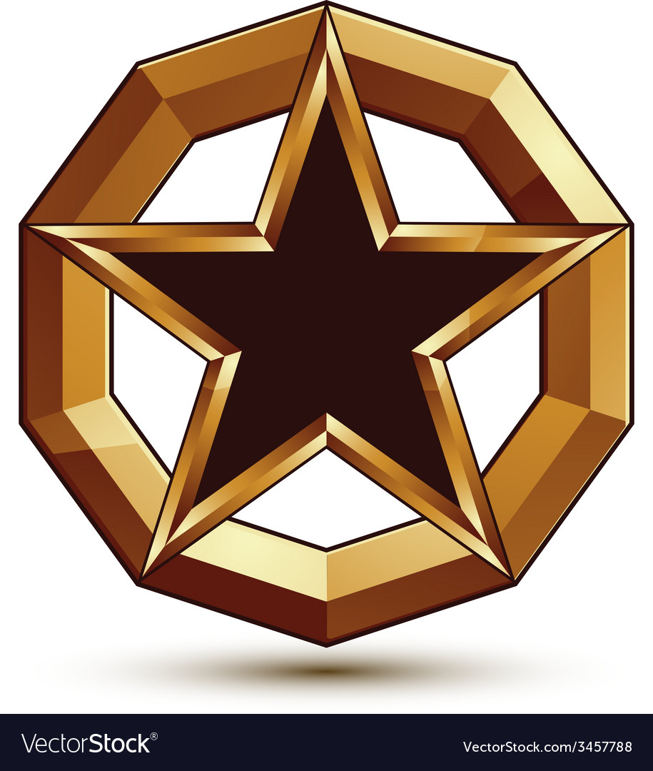 Polished template with pentagonal star dimensional vector | Price: 1 Credit (USD $1)