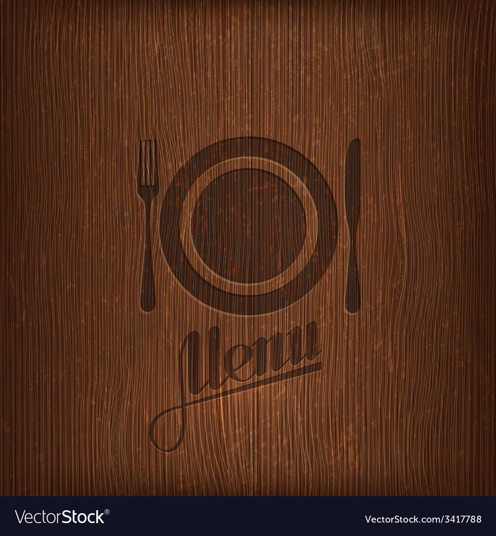 Restaurant menu design on wood background vector | Price: 1 Credit (USD $1)