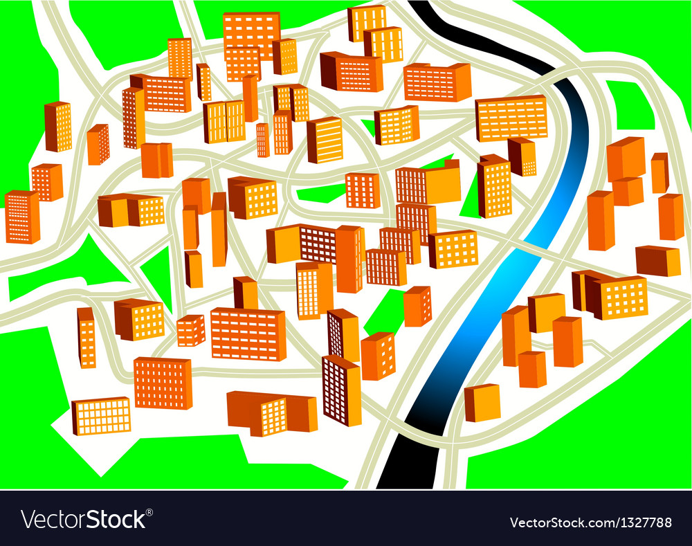 Town plan vector | Price: 1 Credit (USD $1)
