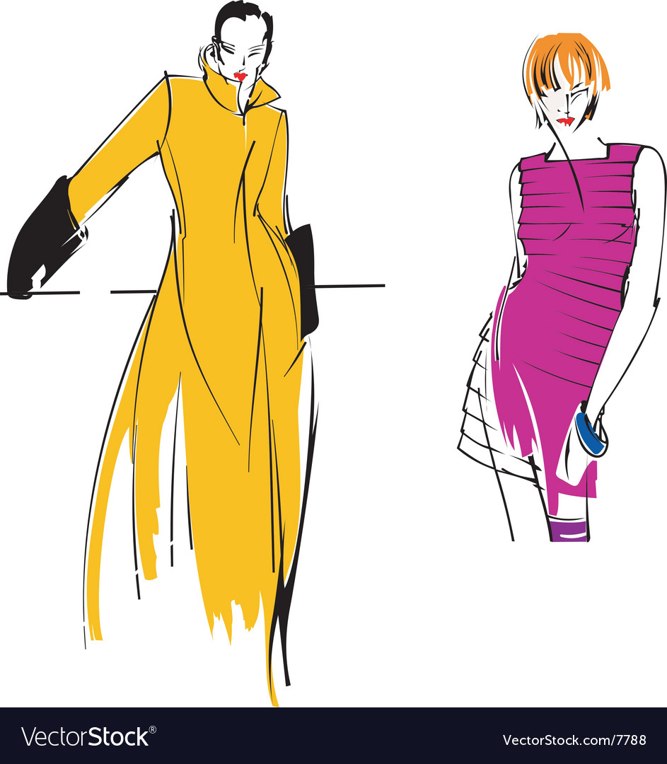 Yellow purple fashion girl vector | Price: 3 Credit (USD $3)