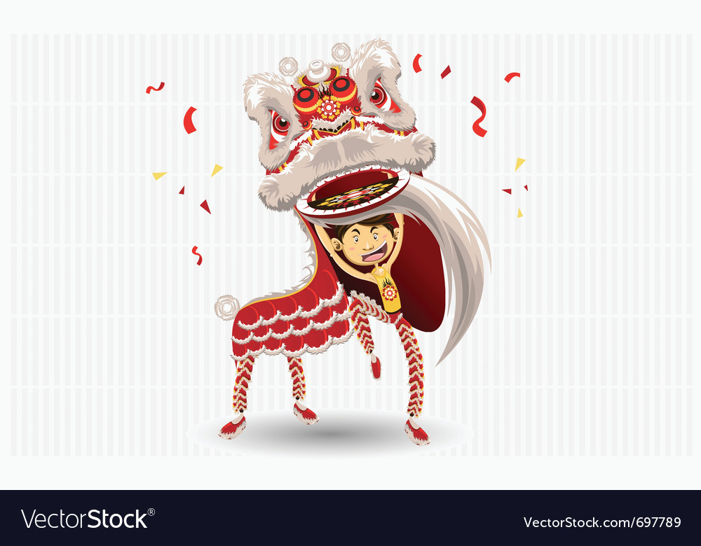 Chinese lion dancing vector | Price: 3 Credit (USD $3)