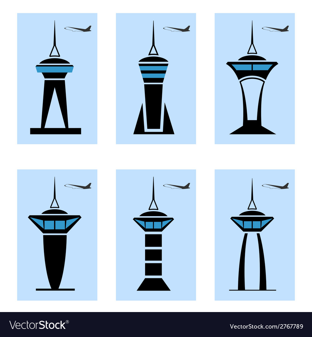 Control tower icons vector | Price: 1 Credit (USD $1)