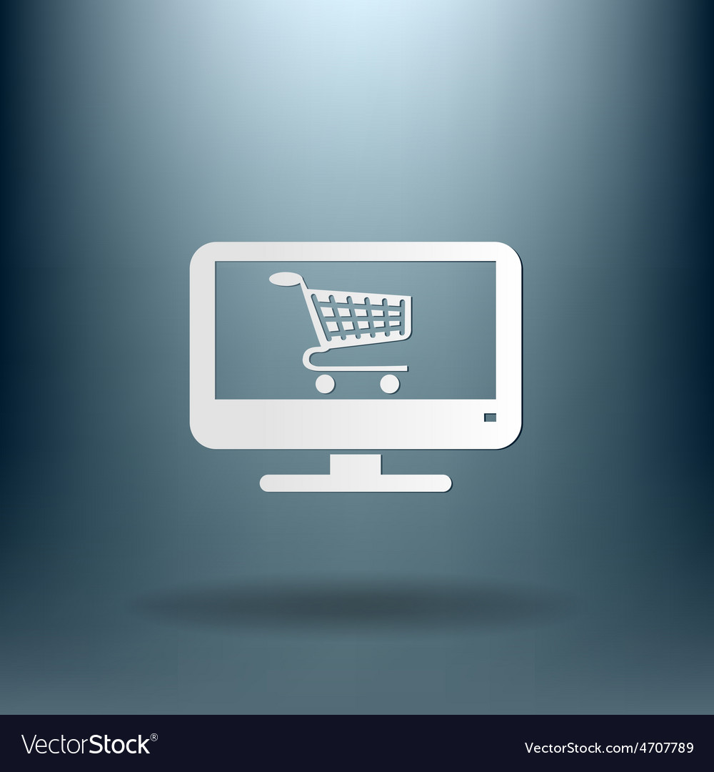 Monitor with symbol shopping cart icon online vector | Price: 1 Credit (USD $1)