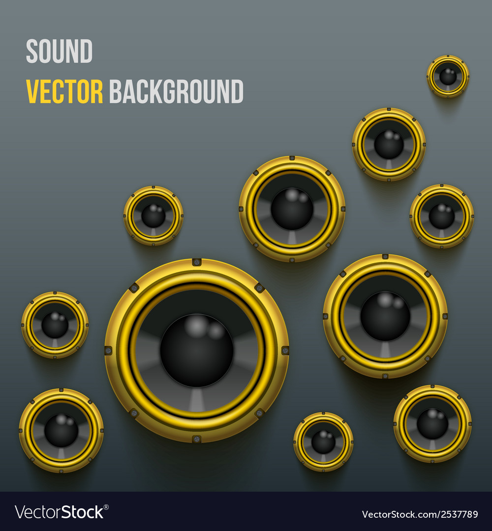 Orange sound load speakers on dark background vector | Price: 1 Credit (USD $1)