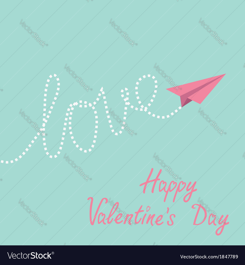 Origami paper plane sky happy valentines day vector | Price: 1 Credit (USD $1)