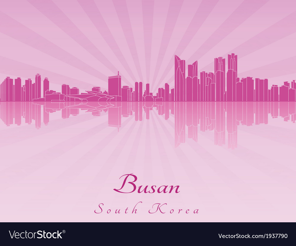 Busan skyline in purple radiant orchid vector | Price: 1 Credit (USD $1)