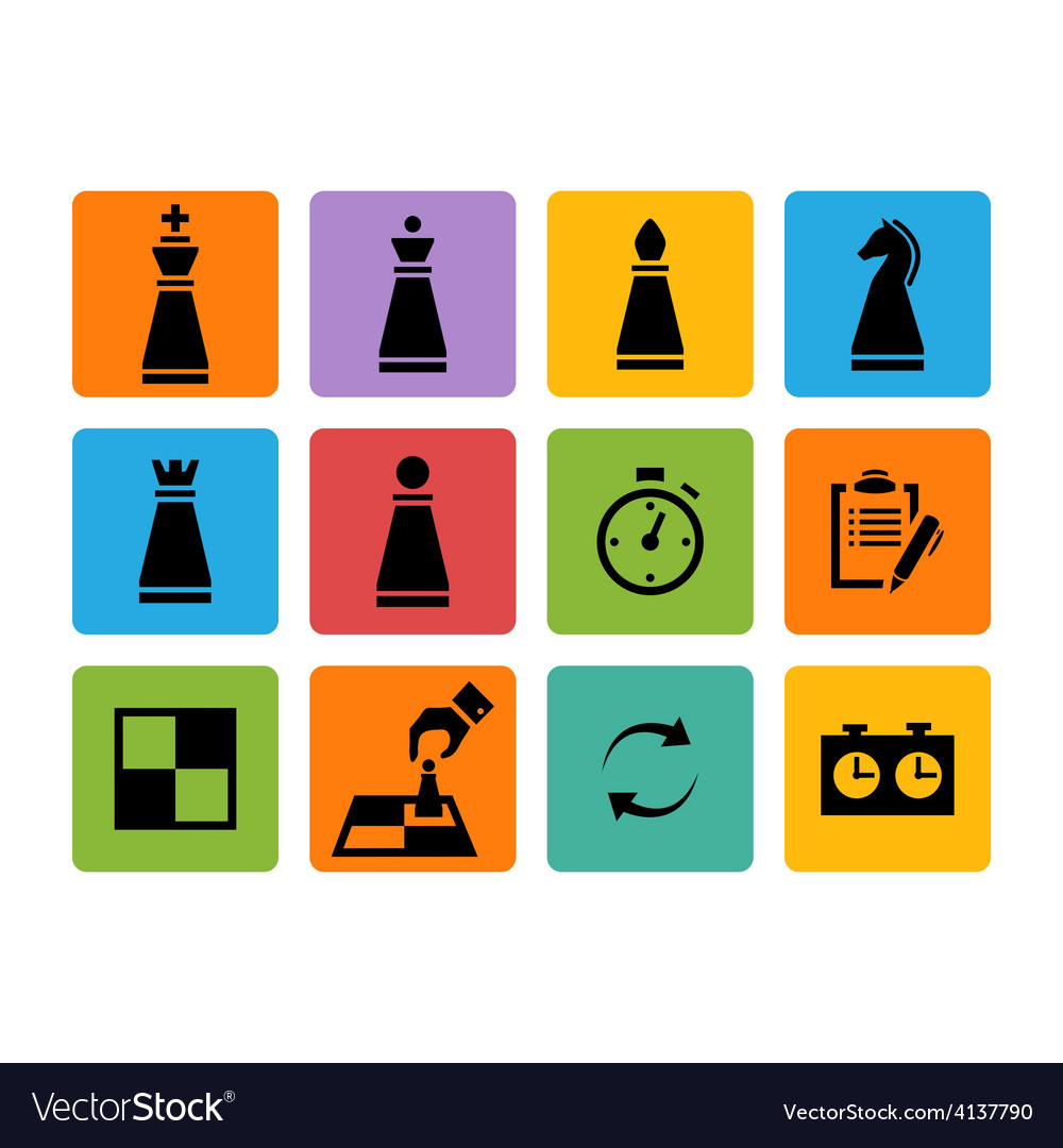 Chess pieces black icons set vector | Price: 1 Credit (USD $1)