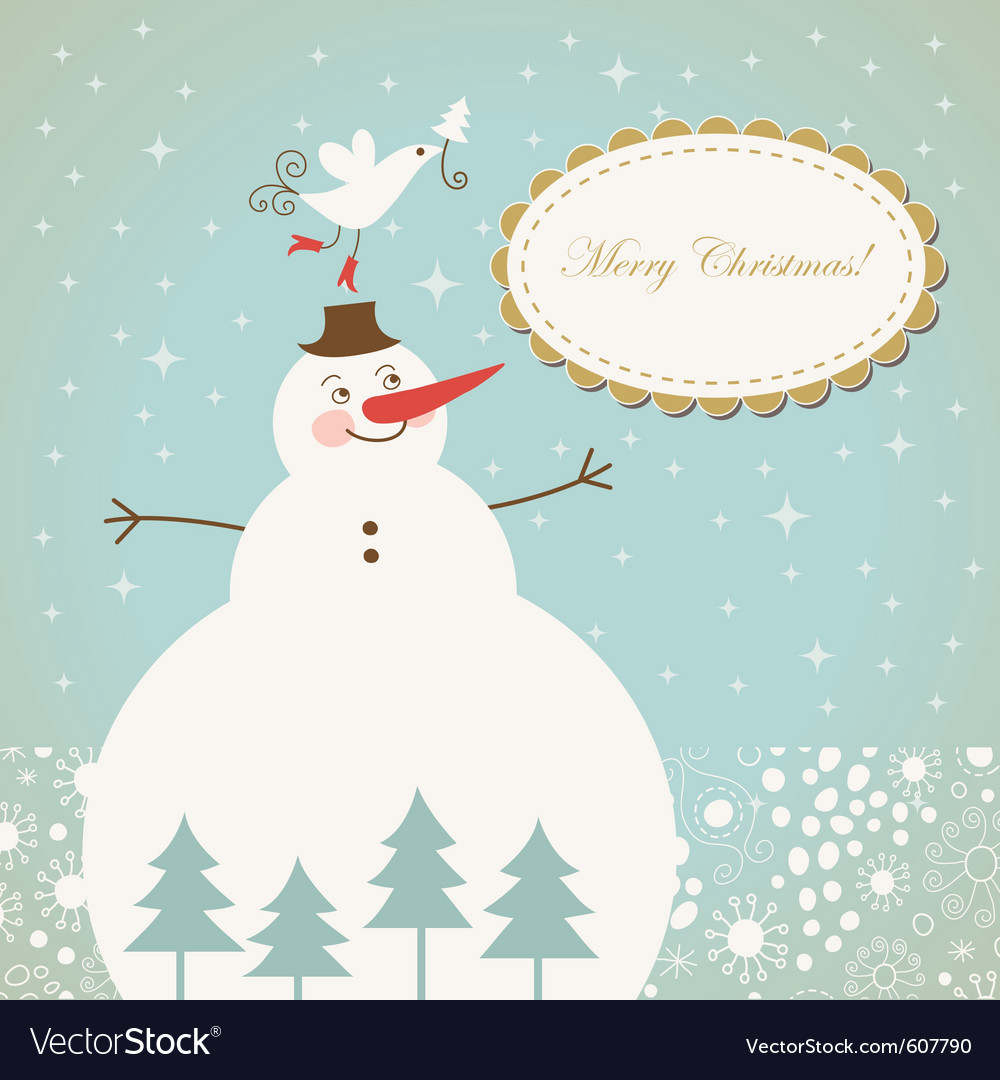 Christmas card with cute snowman with bird vector | Price: 1 Credit (USD $1)