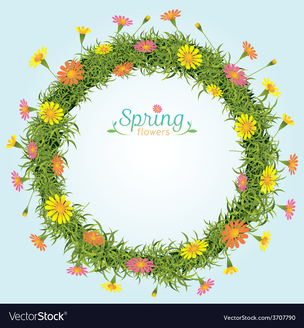 Flowers spring season wreath vector | Price: 1 Credit (USD $1)