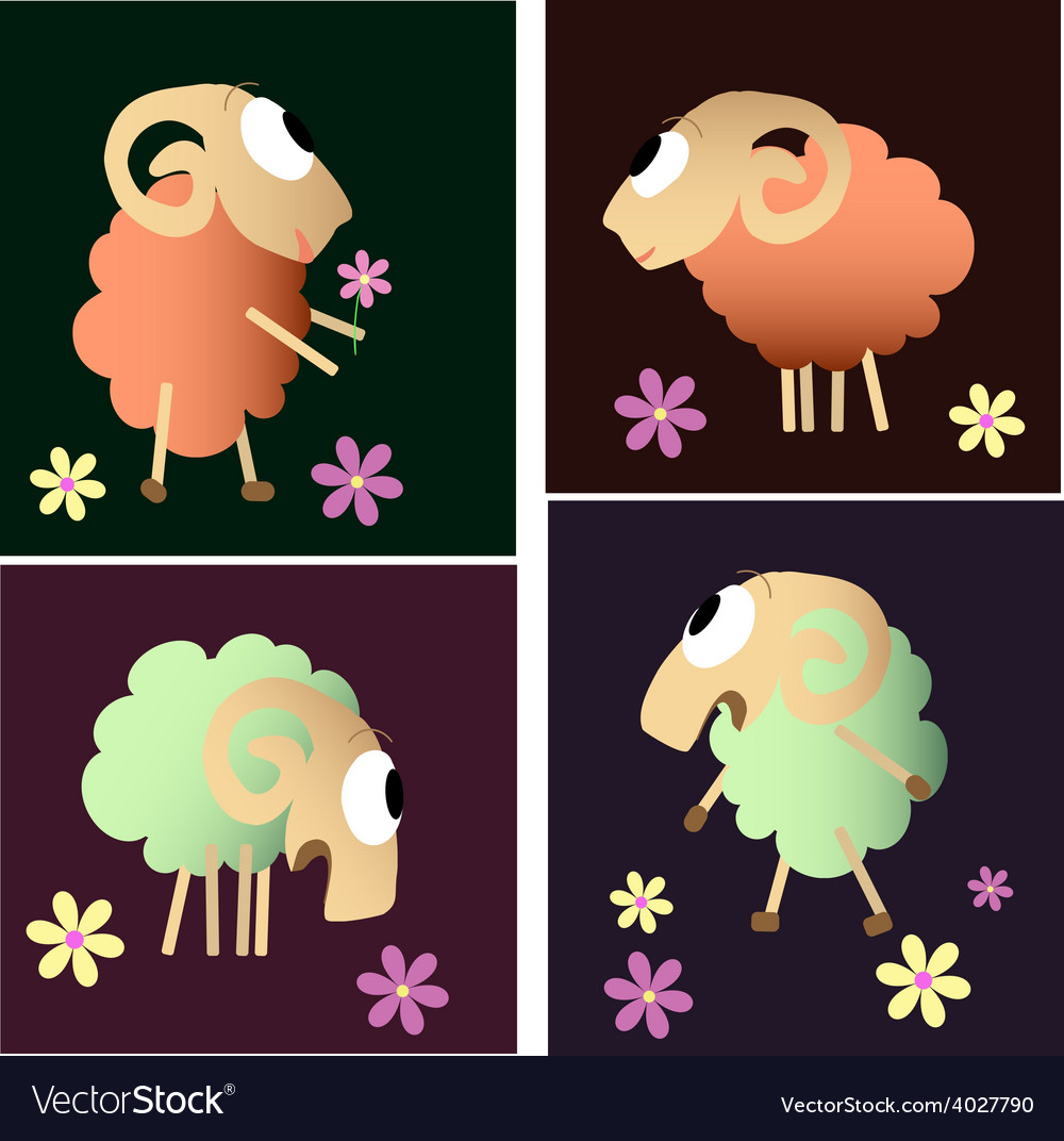 Funny sheep cartoon collection vector | Price: 1 Credit (USD $1)