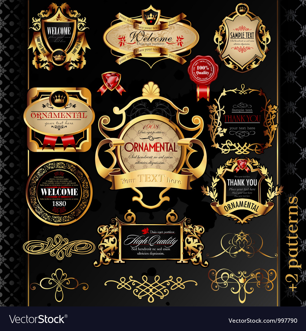 Golden labels vector | Price: 3 Credit (USD $3)