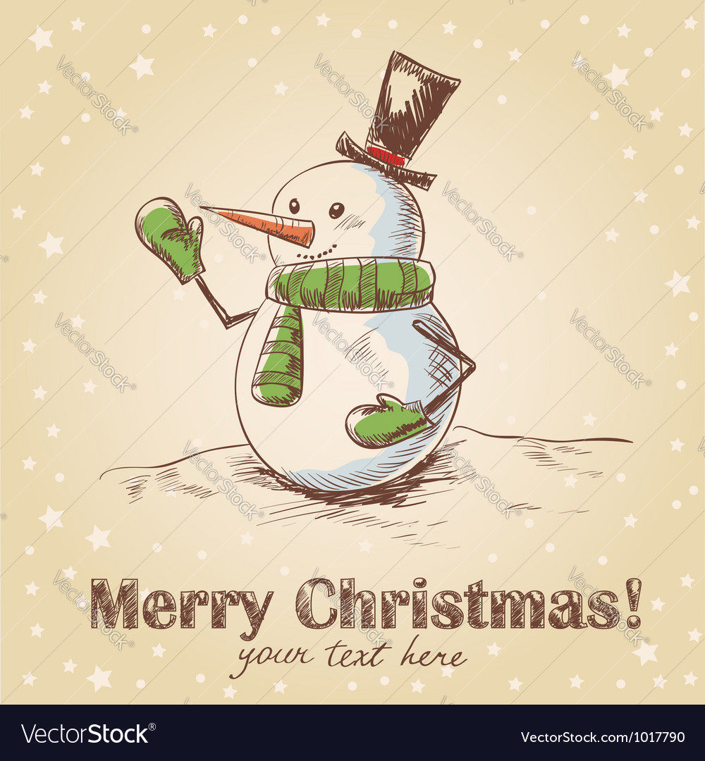 Hand drawn vintage christmas card vector | Price: 1 Credit (USD $1)