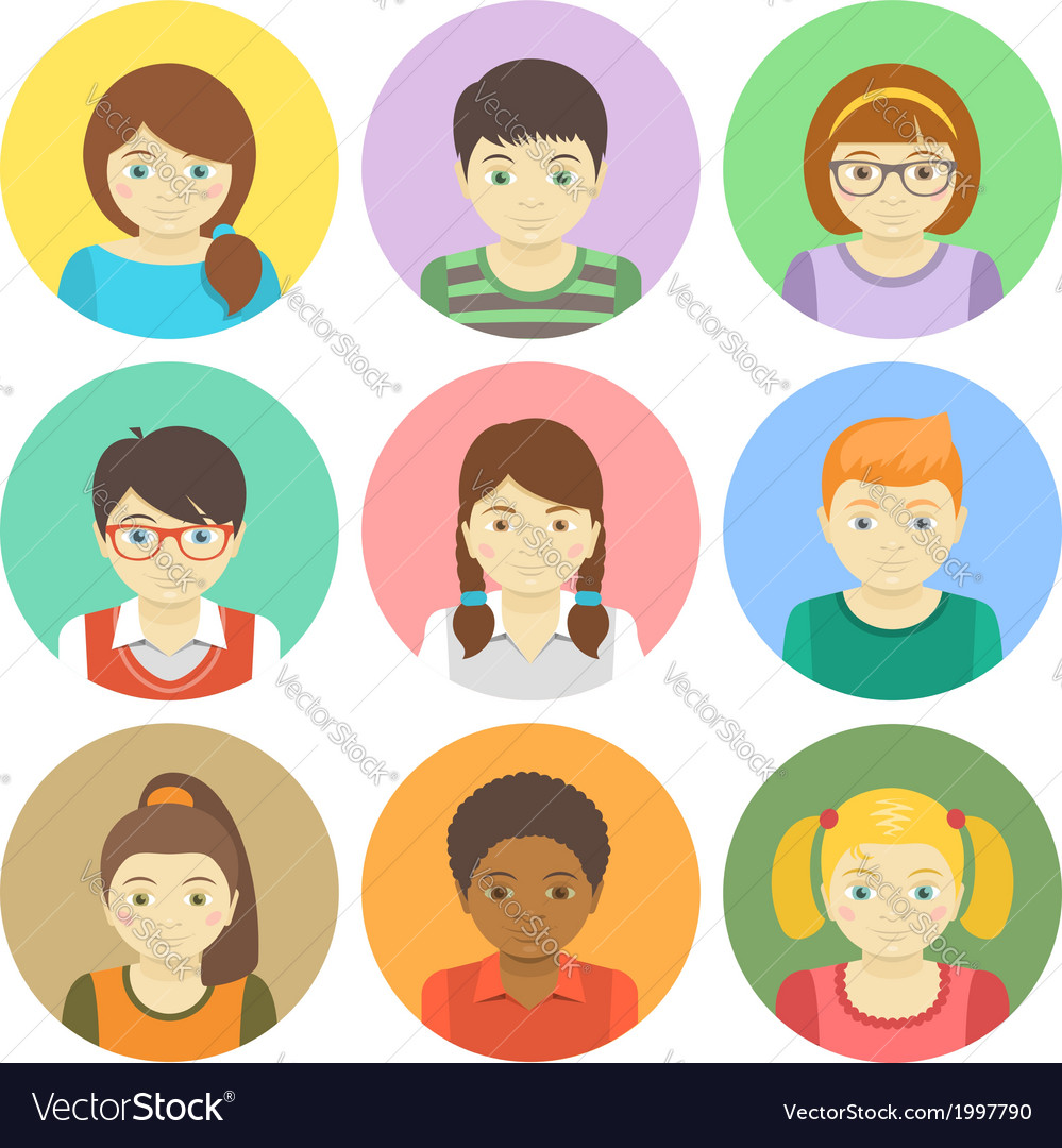 Kids avatars vector | Price: 1 Credit (USD $1)