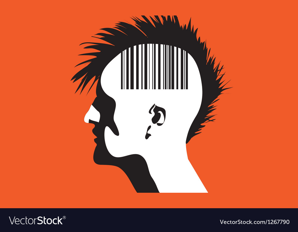 Monhawk guy with barcode vector