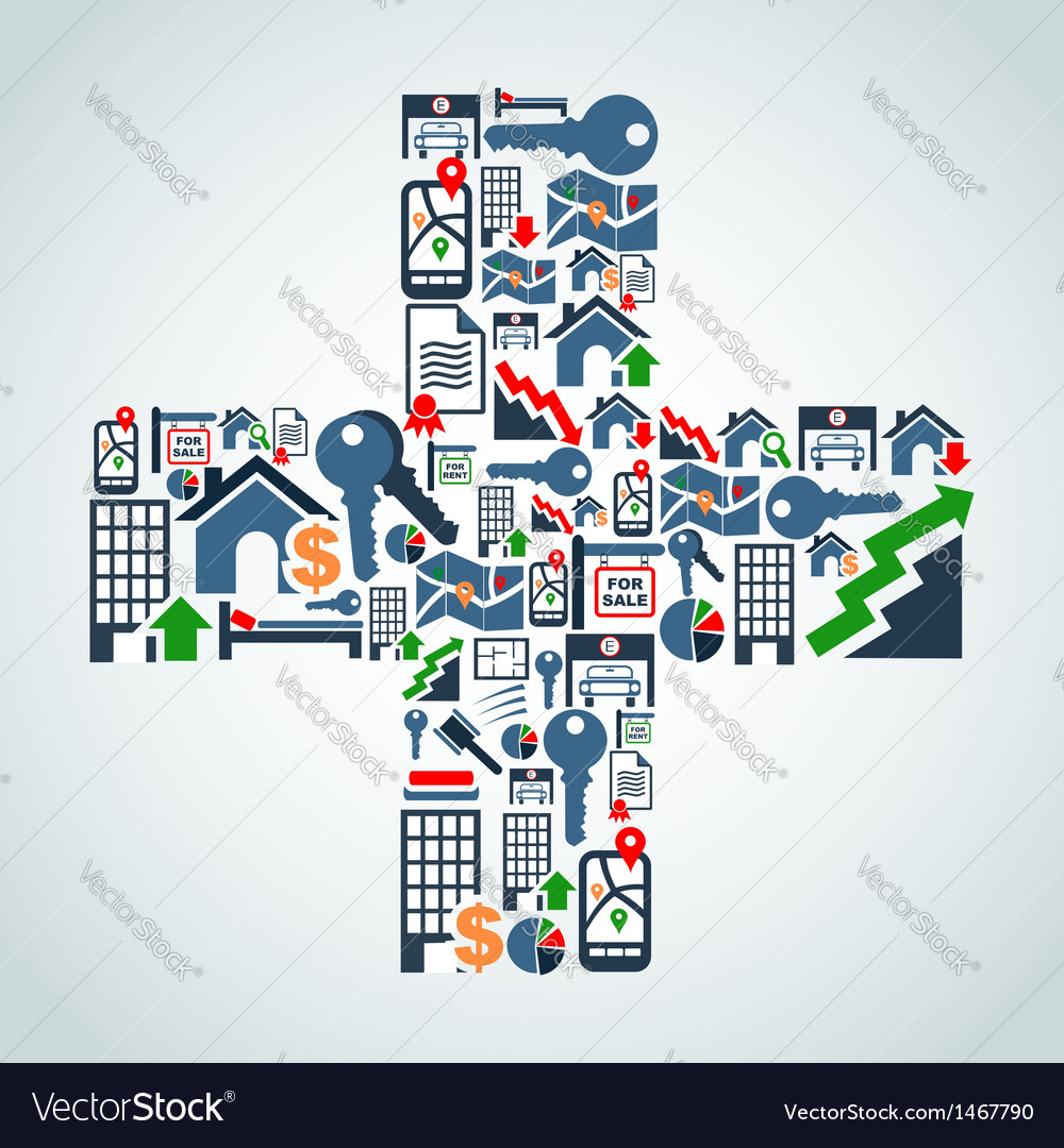 Property service icons plus symbol vector | Price: 1 Credit (USD $1)