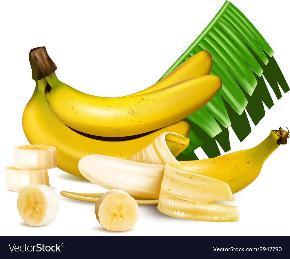 Ripe yellow bananas with slices and leaves vector | Price: 1 Credit (USD $1)