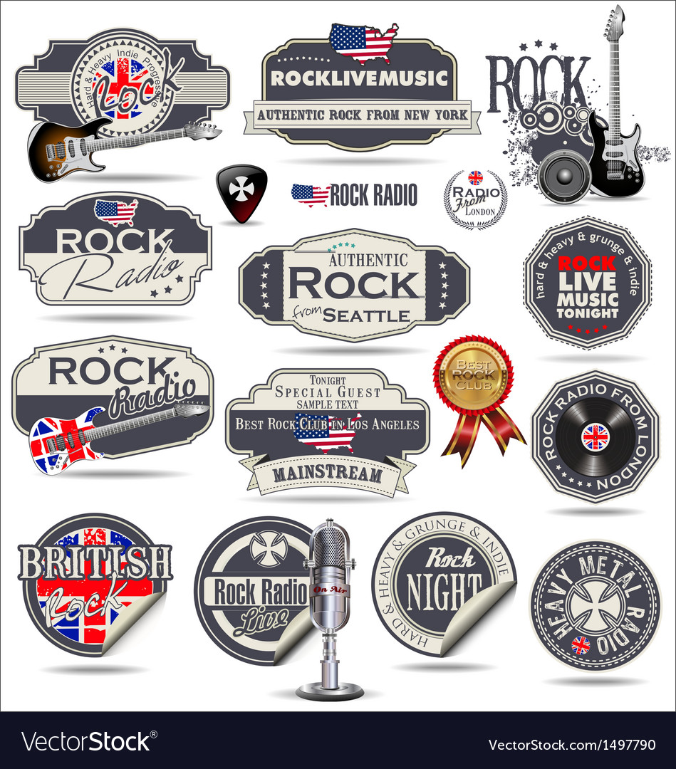Rock music stamps and labels vector | Price: 3 Credit (USD $3)
