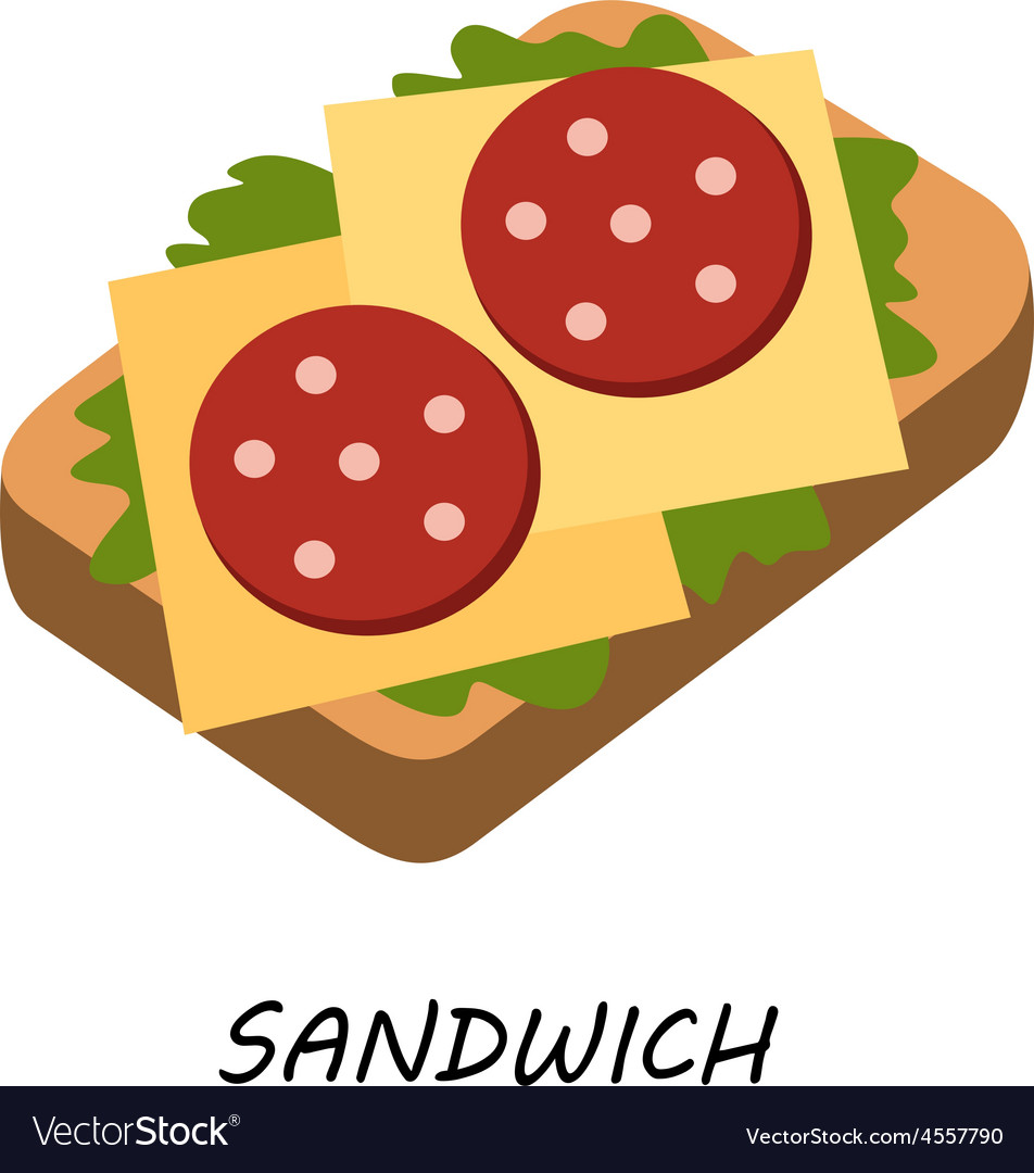 Sandwich salami and cheese vector   Price: 1 Credit (USD $1)