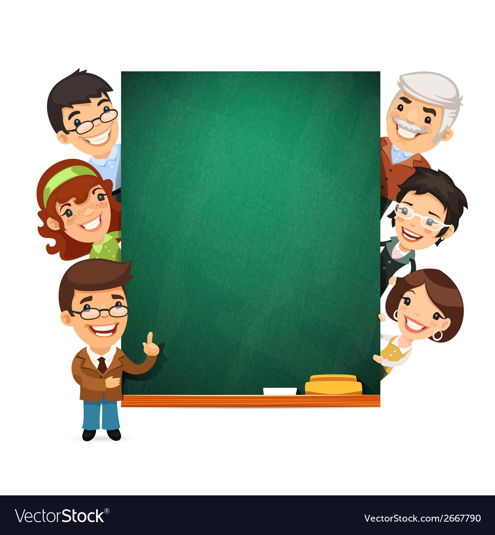 Teachers presenting empty chalkboard vector | Price: 1 Credit (USD $1)