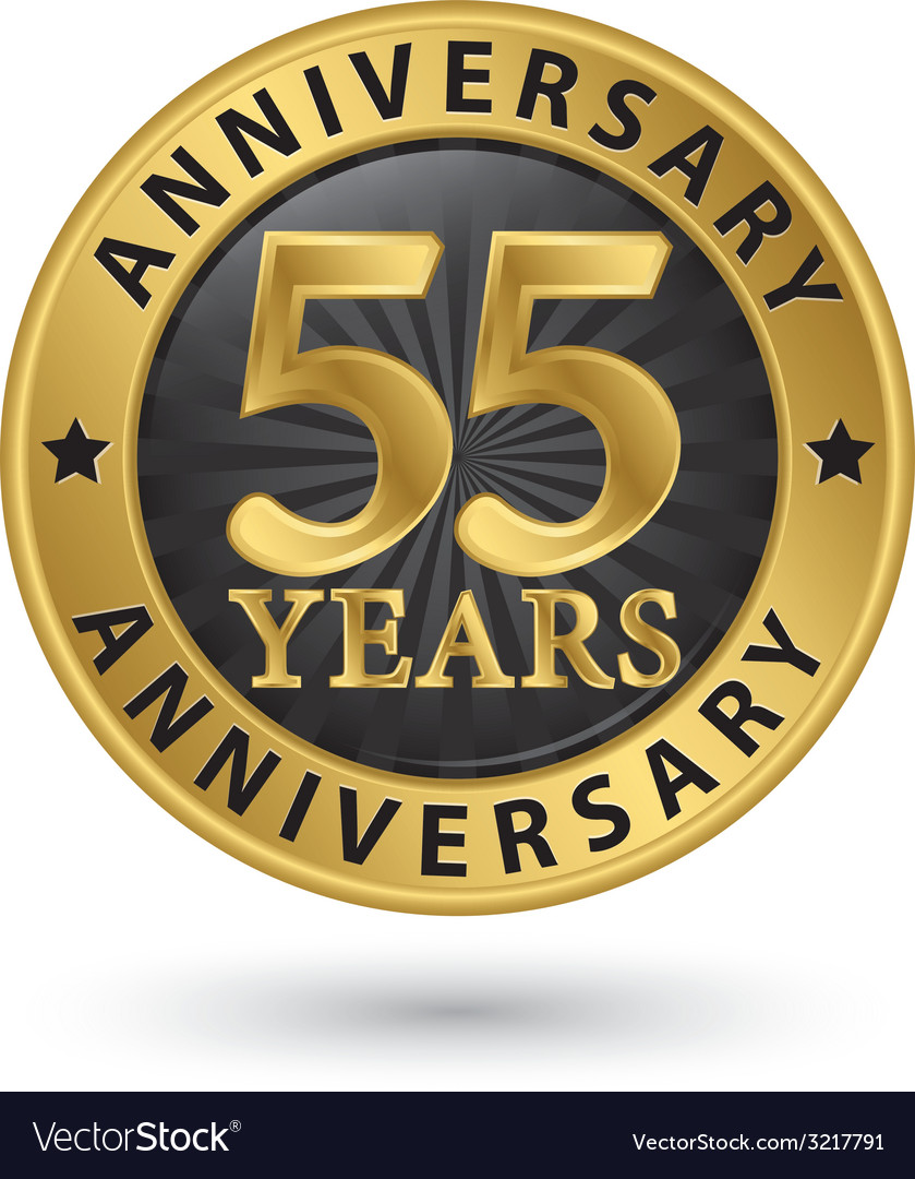 55 years anniversary gold label vector | Price: 1 Credit (USD $1)