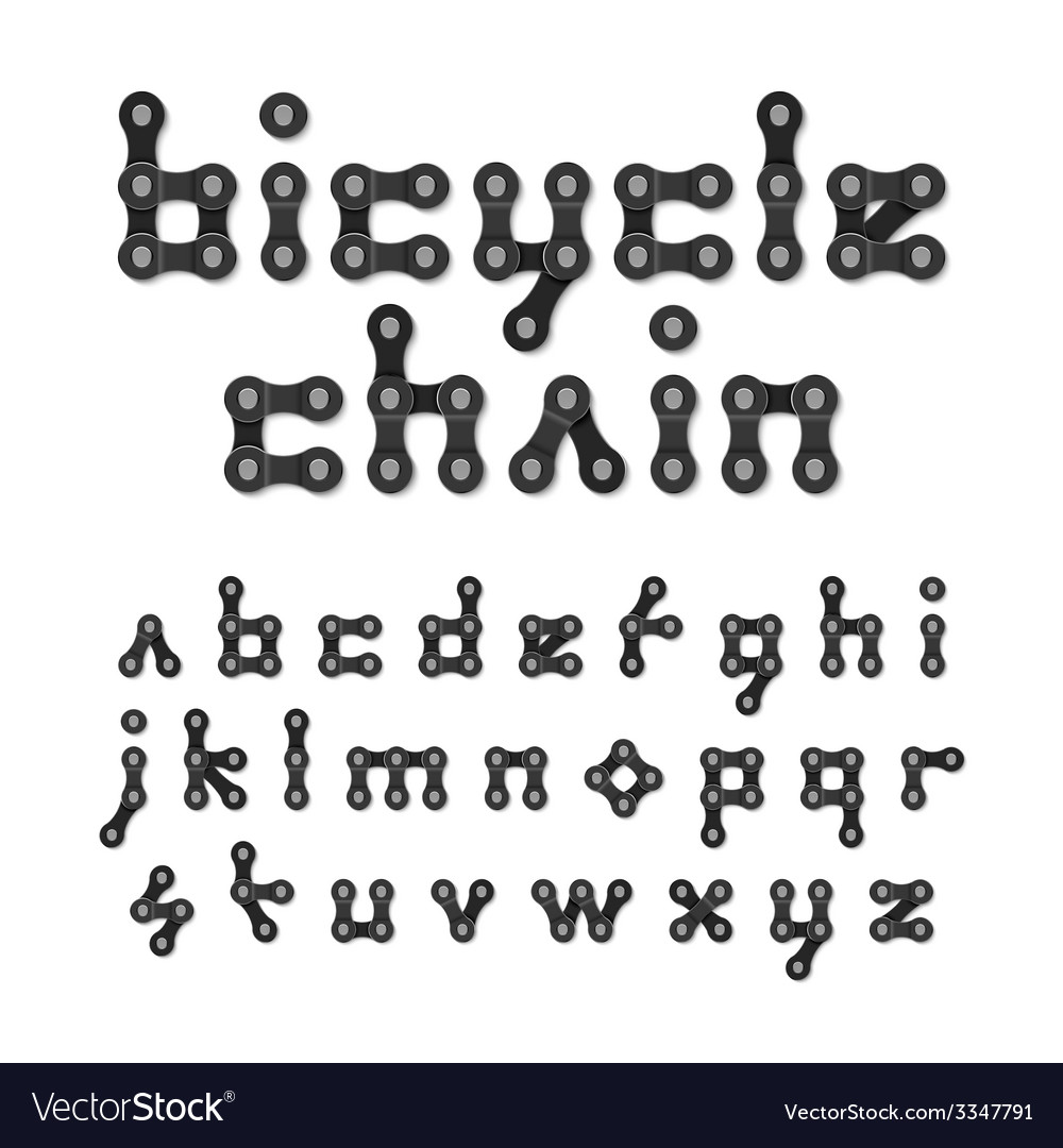 Bicycle chain alphabet vector