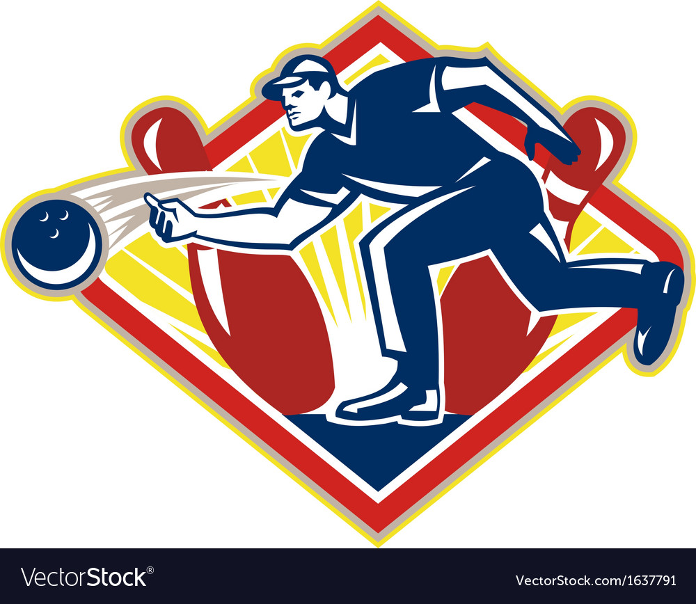 Bowler bowling ball pins side retro vector | Price: 1 Credit (USD $1)