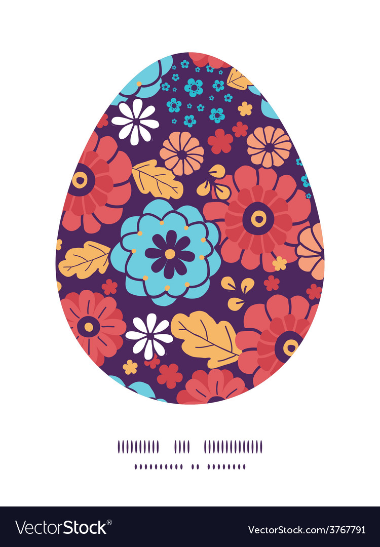 Colorful bouquet flowers easter egg vector | Price: 1 Credit (USD $1)