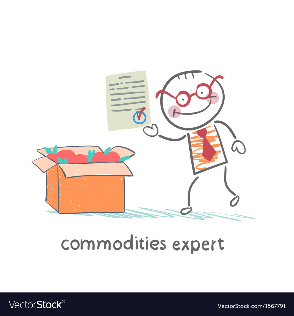 Commodities expert stands next to a box of apples vector | Price: 1 Credit (USD $1)