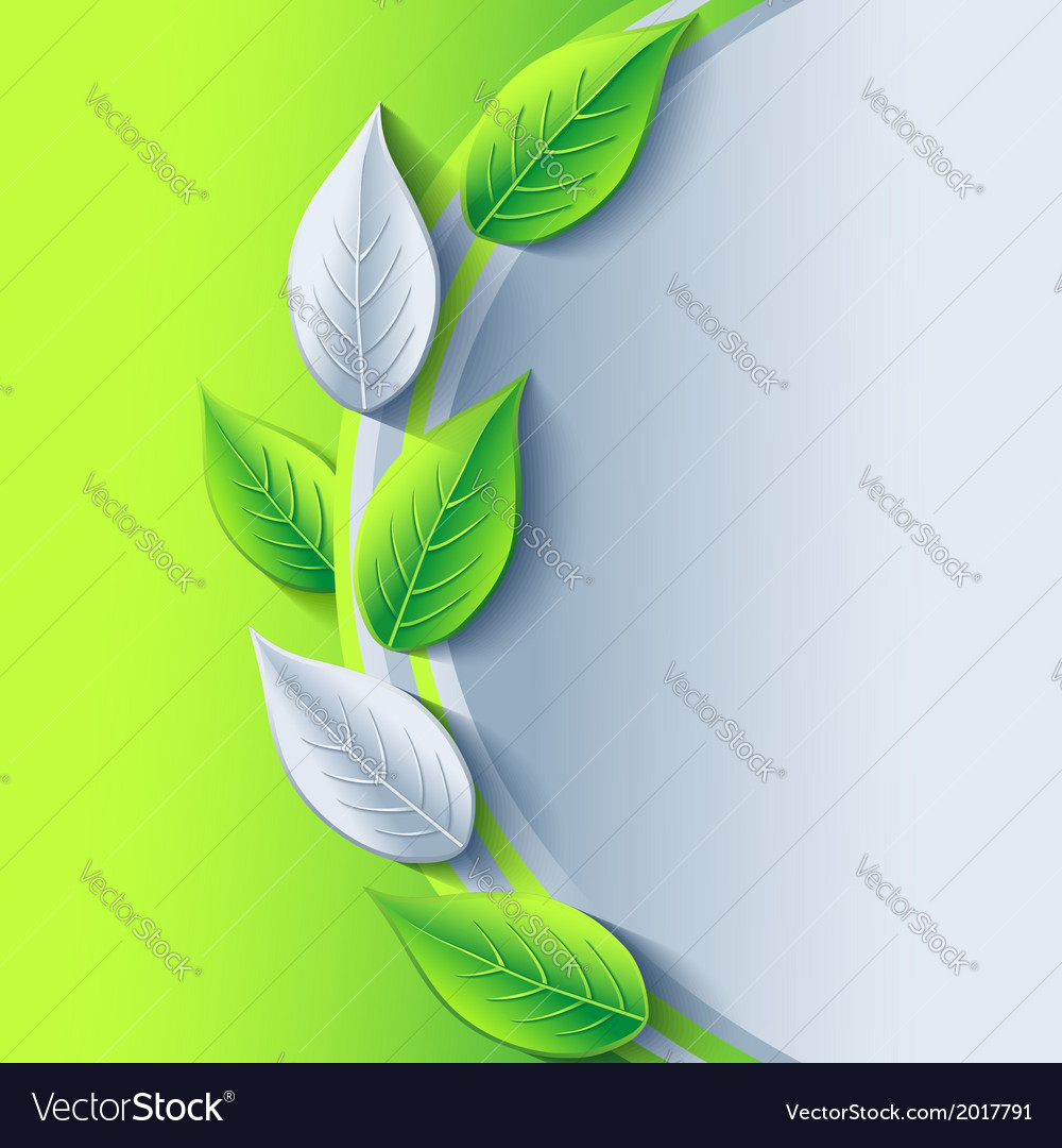 Eco conceptual background with green and gray leaf vector | Price: 1 Credit (USD $1)