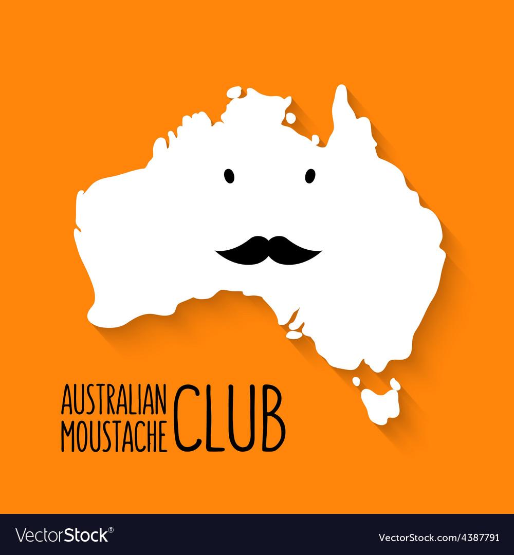 Fun moustache club cartoon australia map on vector | Price: 1 Credit (USD $1)