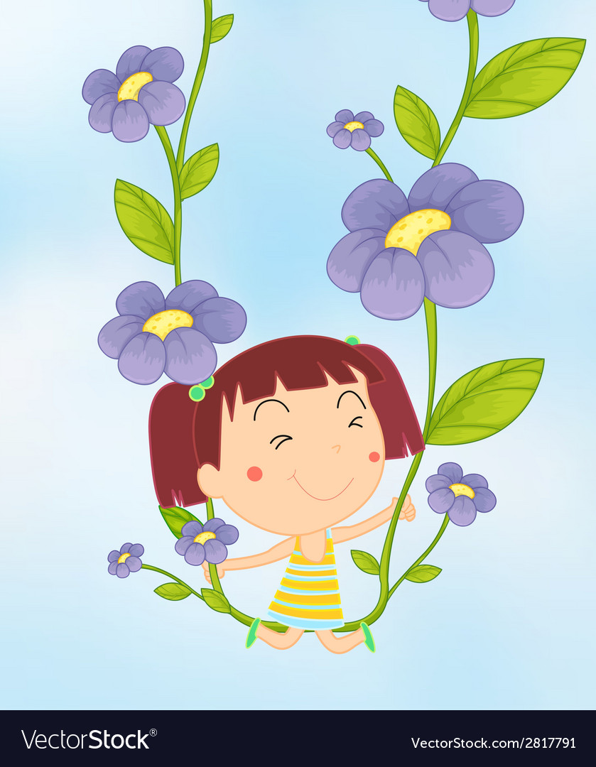 Girl and flowers vector | Price: 1 Credit (USD $1)