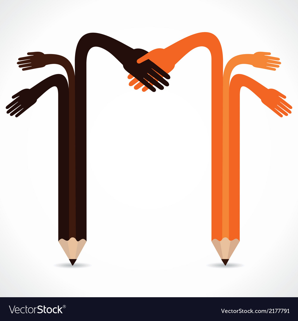Pencil hands want to hand shake vector | Price: 1 Credit (USD $1)