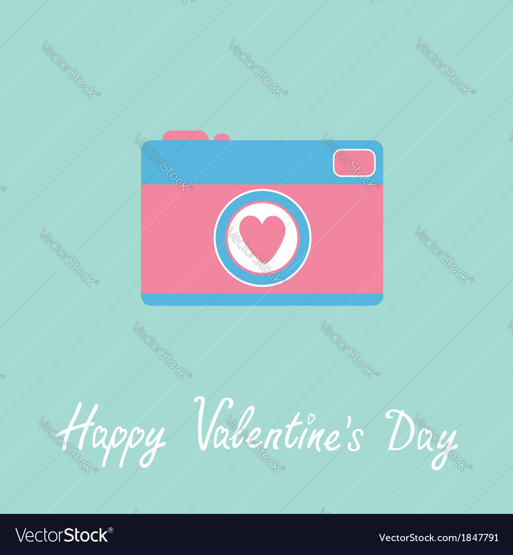 Photo camera with heart happy valentines day vector | Price: 1 Credit (USD $1)