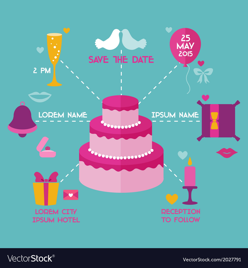 Save the date - wedding invitation card vector | Price: 1 Credit (USD $1)