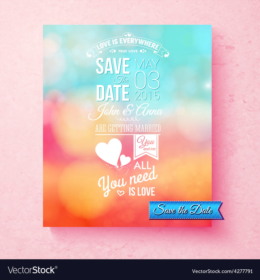 Save the date wedding invitation template vector | Price: 1 Credit (USD $1)