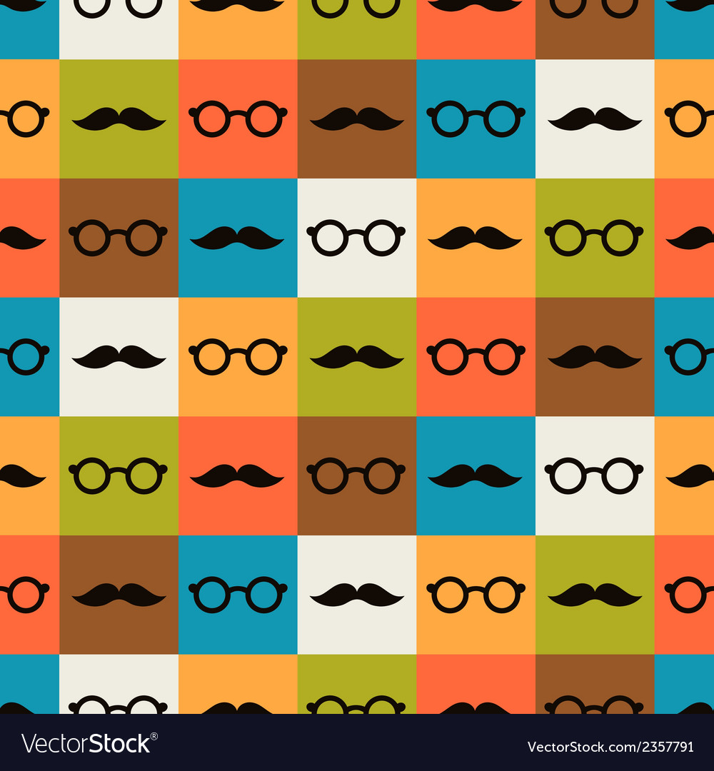Seamless background of glasses and mustache vector | Price: 1 Credit (USD $1)