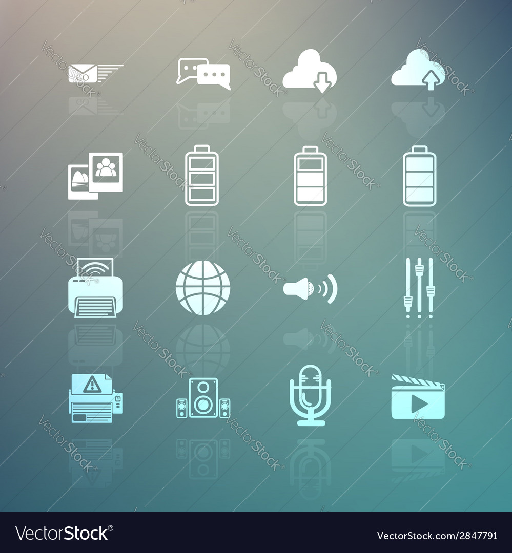 Social media and mobile interface icons set on ret vector | Price: 1 Credit (USD $1)