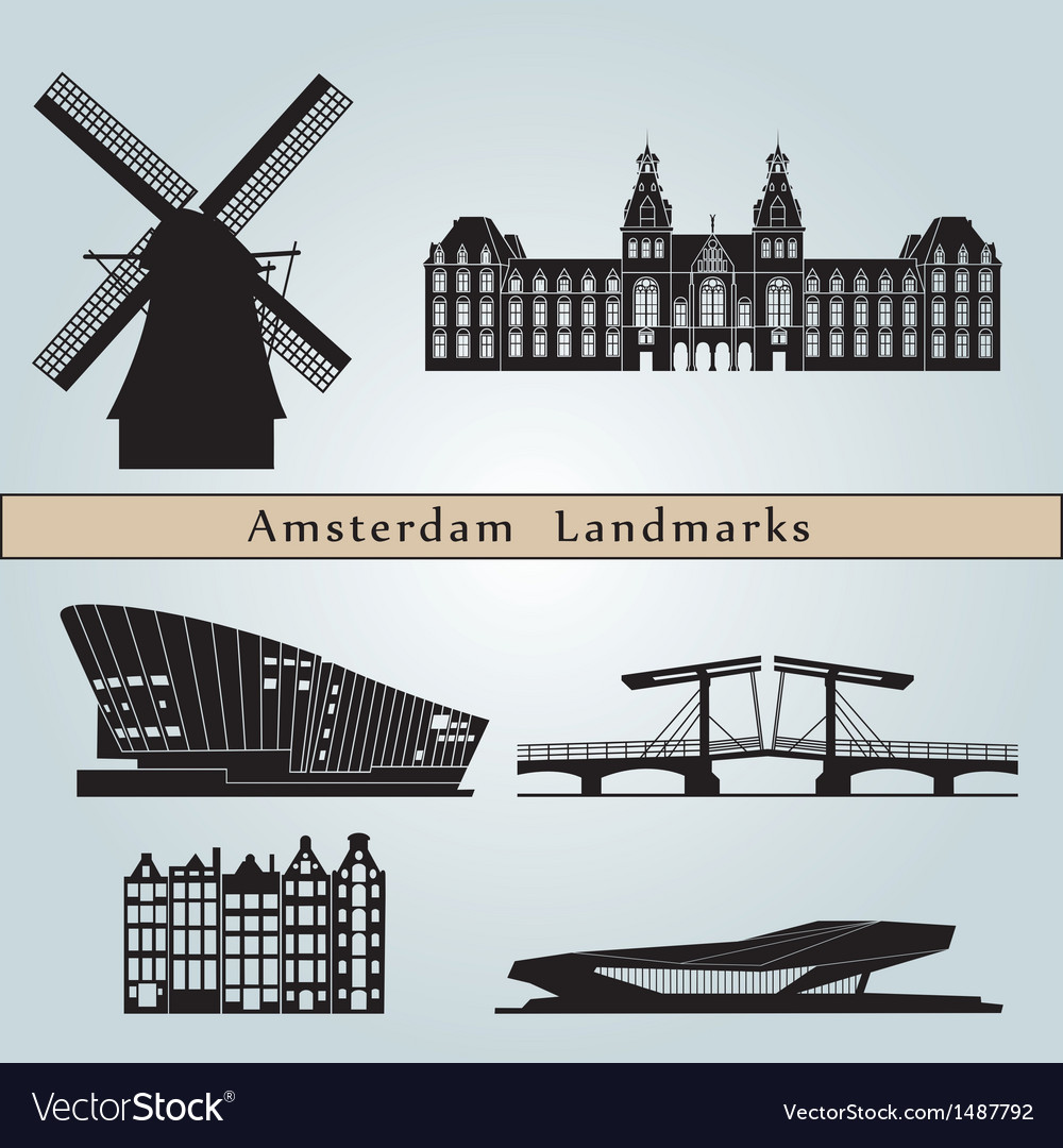 Amsterdam landmarks and monuments vector | Price: 1 Credit (USD $1)