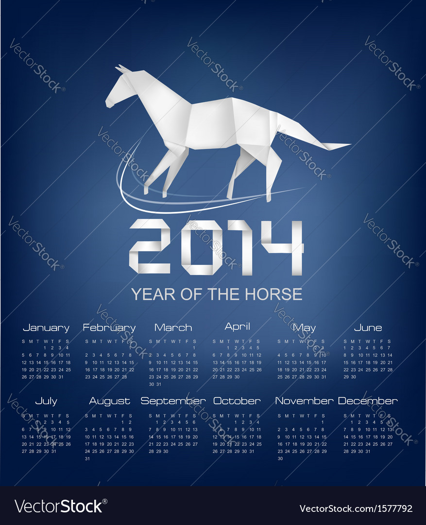Calendar for the year 2014 origami horse vector | Price: 1 Credit (USD $1)