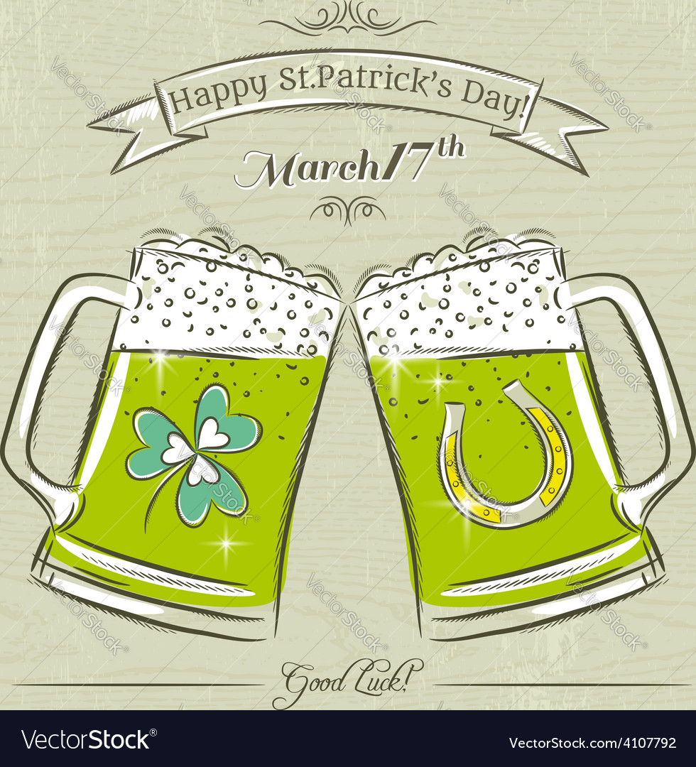 Card for st patricks day with beer mug vector | Price: 1 Credit (USD $1)