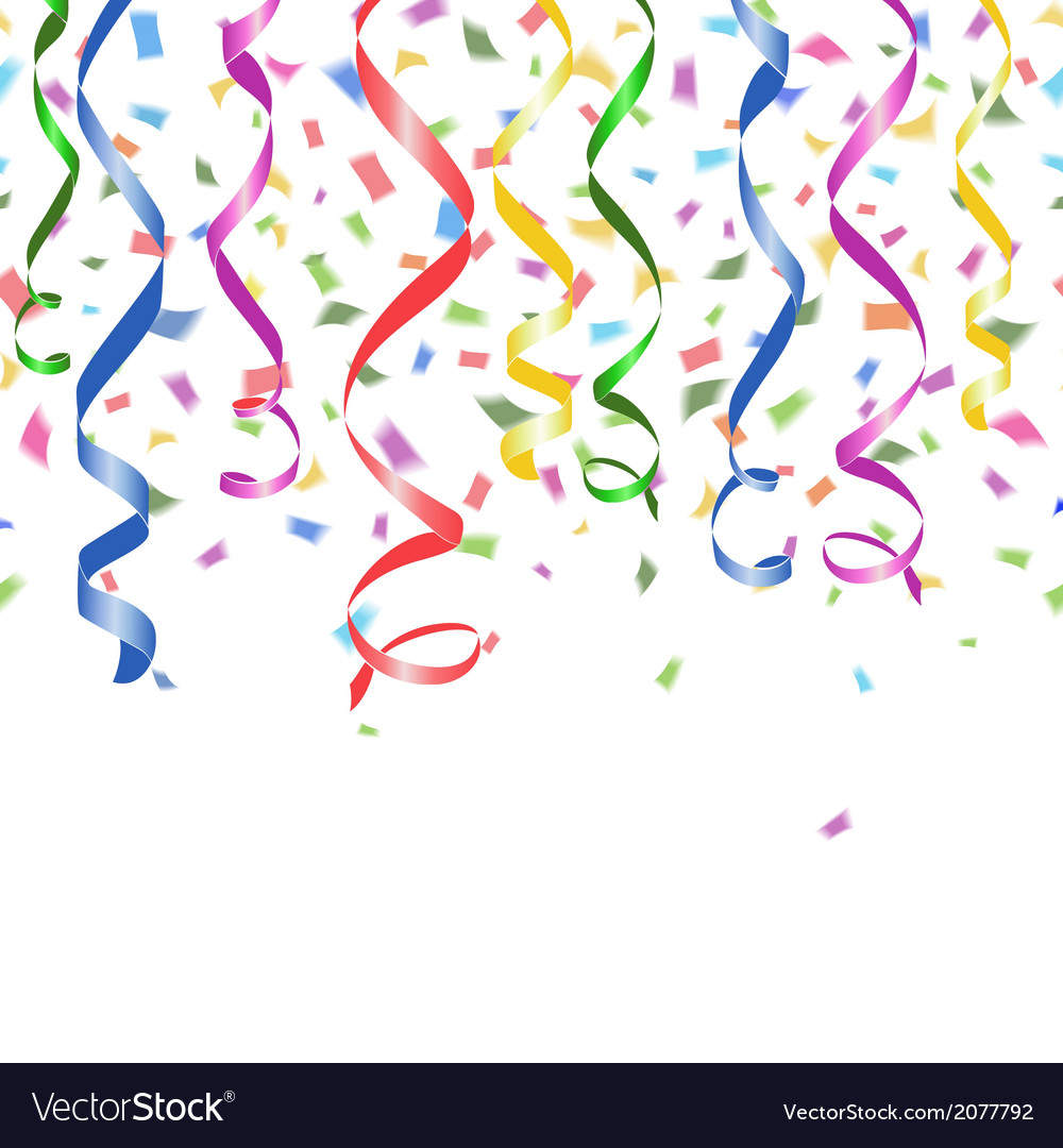 Colorful confetti and twirled party streamers vector | Price: 1 Credit (USD $1)