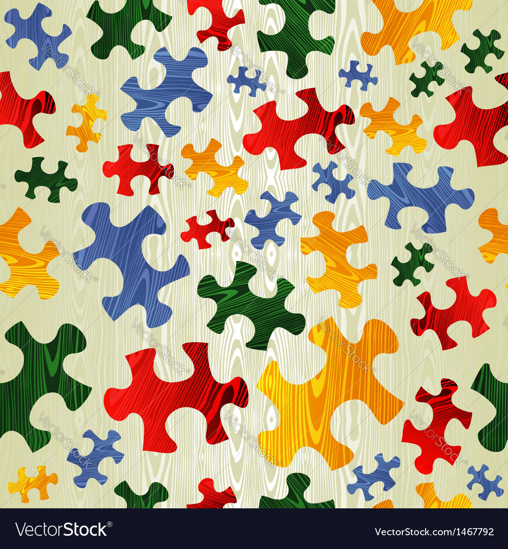 Colorful puzzle seamless pattern in wood texture vector | Price: 1 Credit (USD $1)