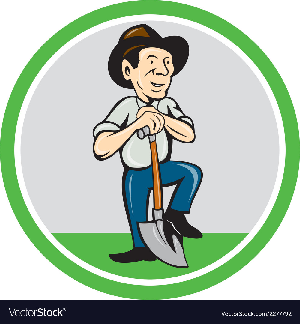 Farmer shovel standing cartoon vector | Price: 1 Credit (USD $1)