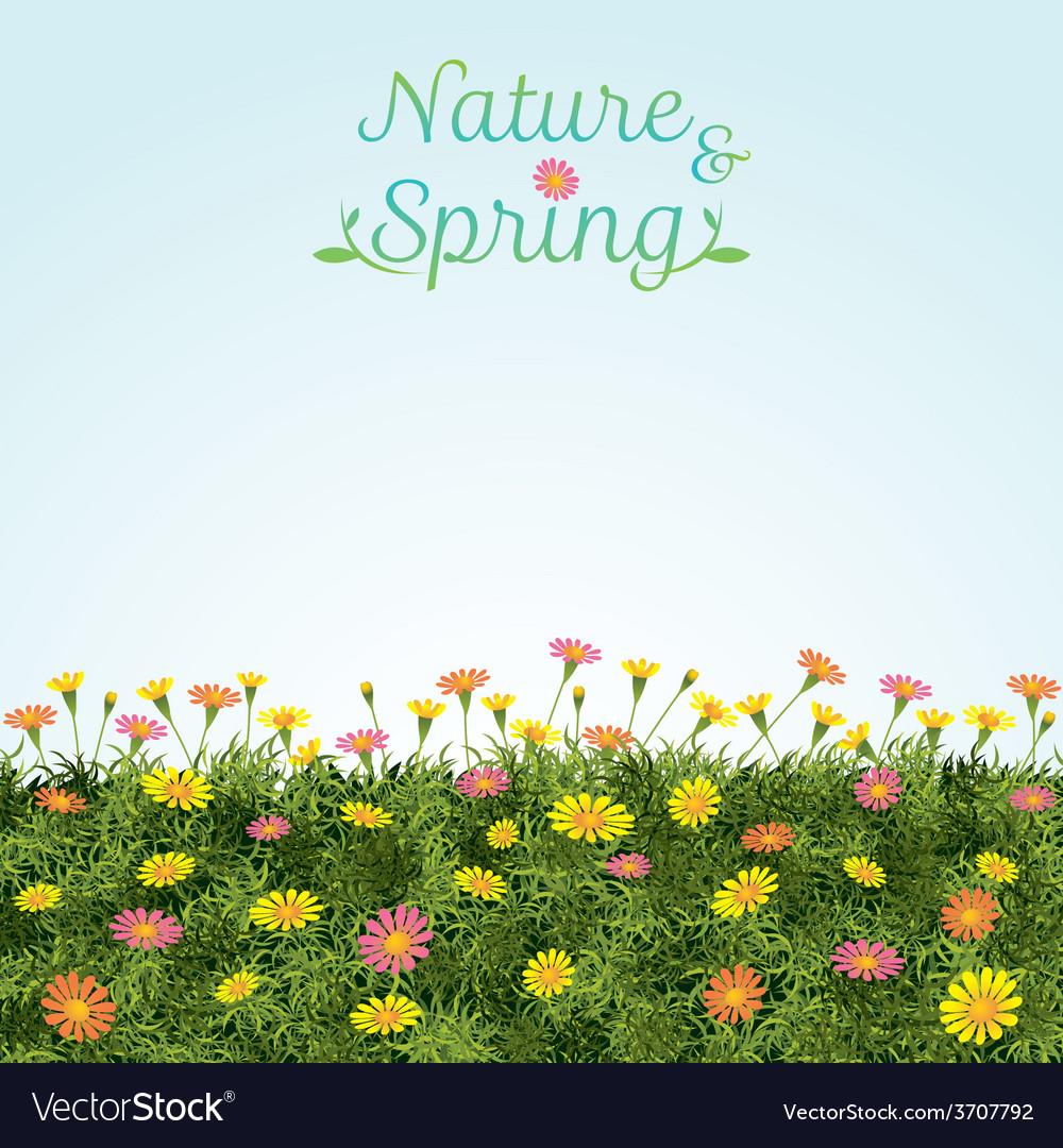 Flowers spring field season background vector | Price: 1 Credit (USD $1)