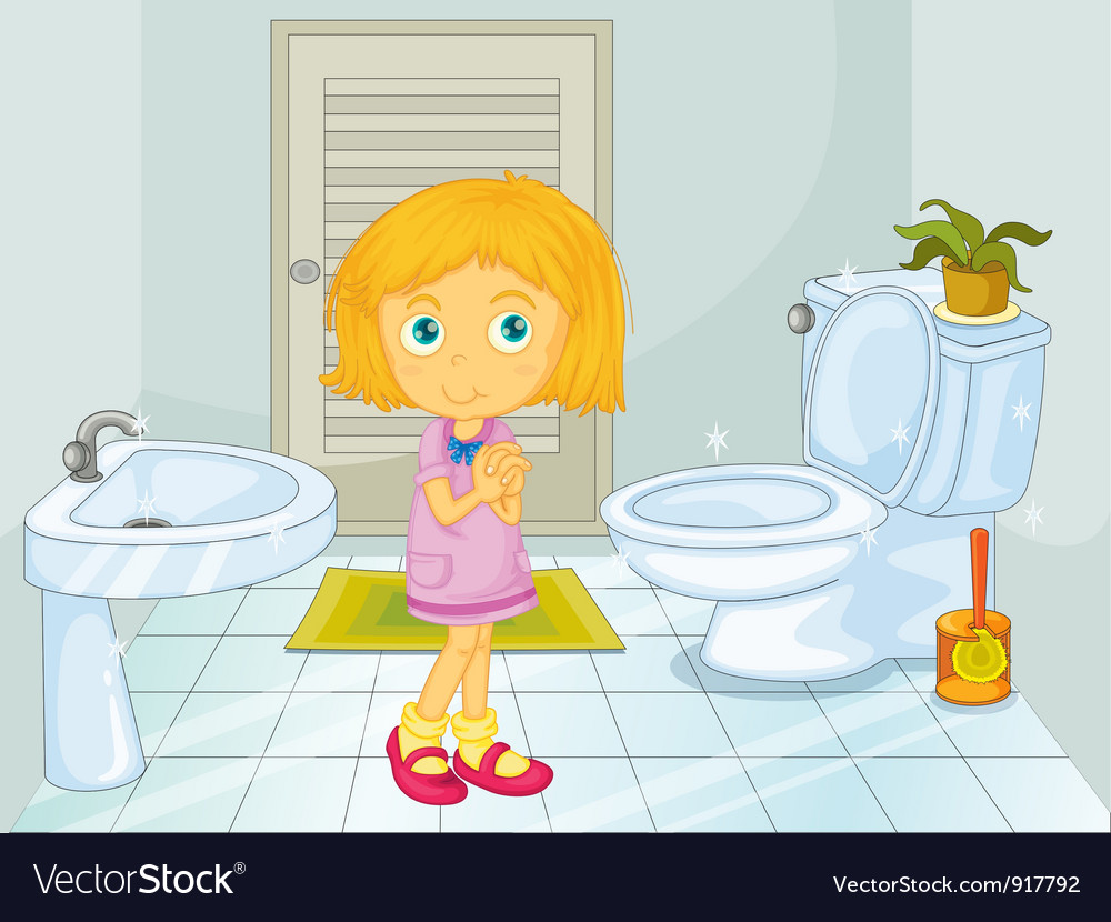 Girl in the bathroom vector | Price: 3 Credit (USD $3)