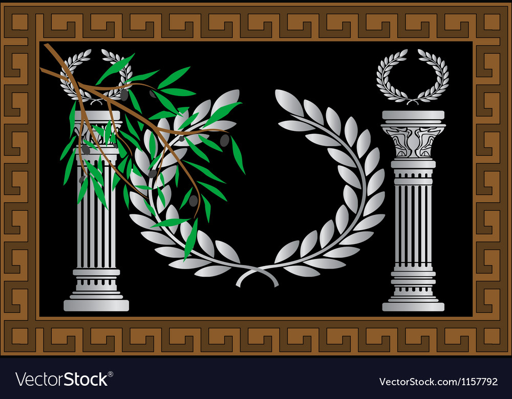 The greek columns and wreath vector | Price: 1 Credit (USD $1)