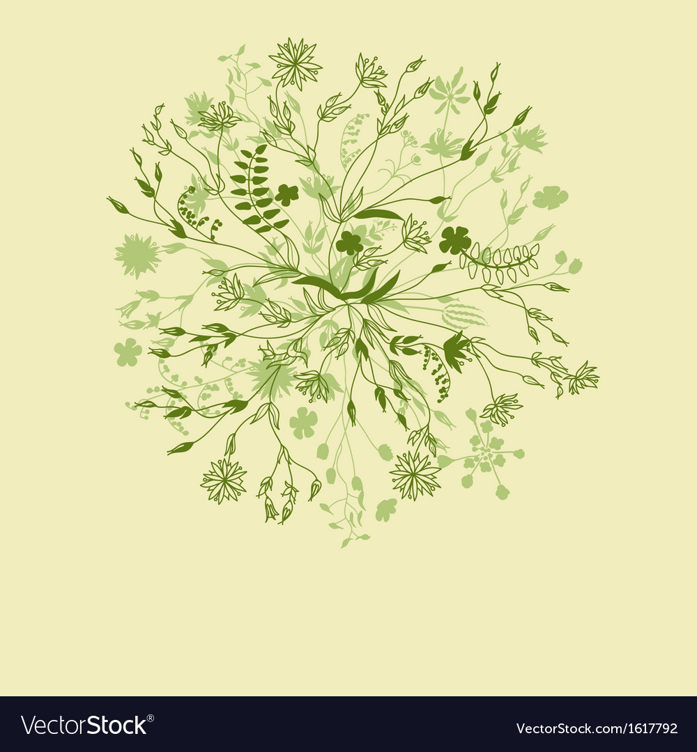Green nature round floral pattern vector | Price: 1 Credit (USD $1)