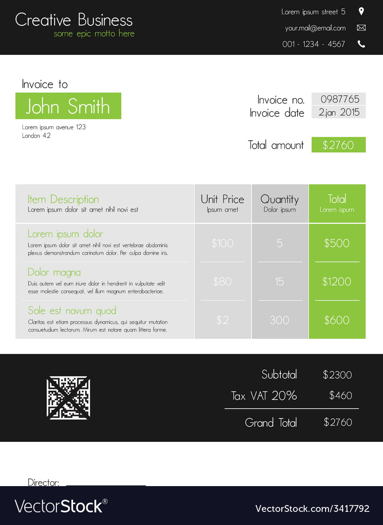 Invoice template - clean modern style of green and vector | Price: 1 Credit (USD $1)