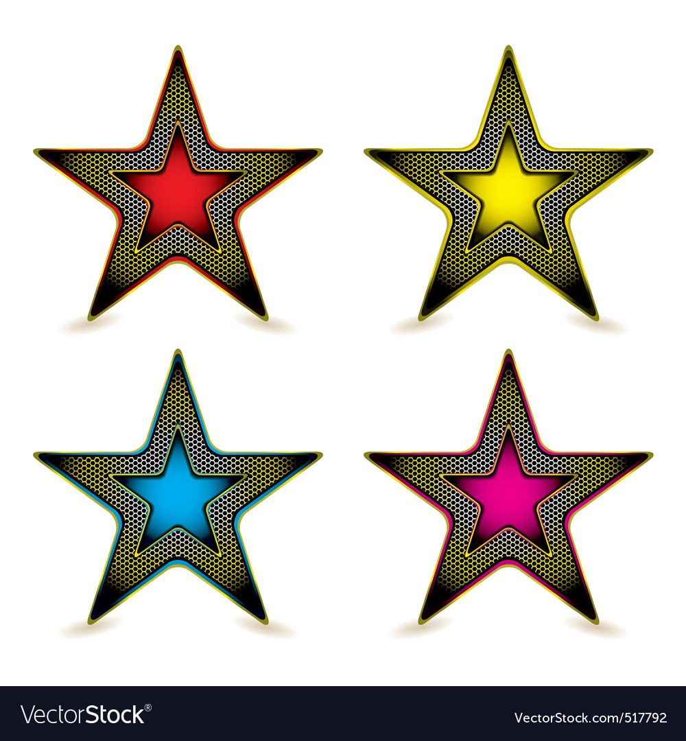Metal hexagon star award vector | Price: 1 Credit (USD $1)