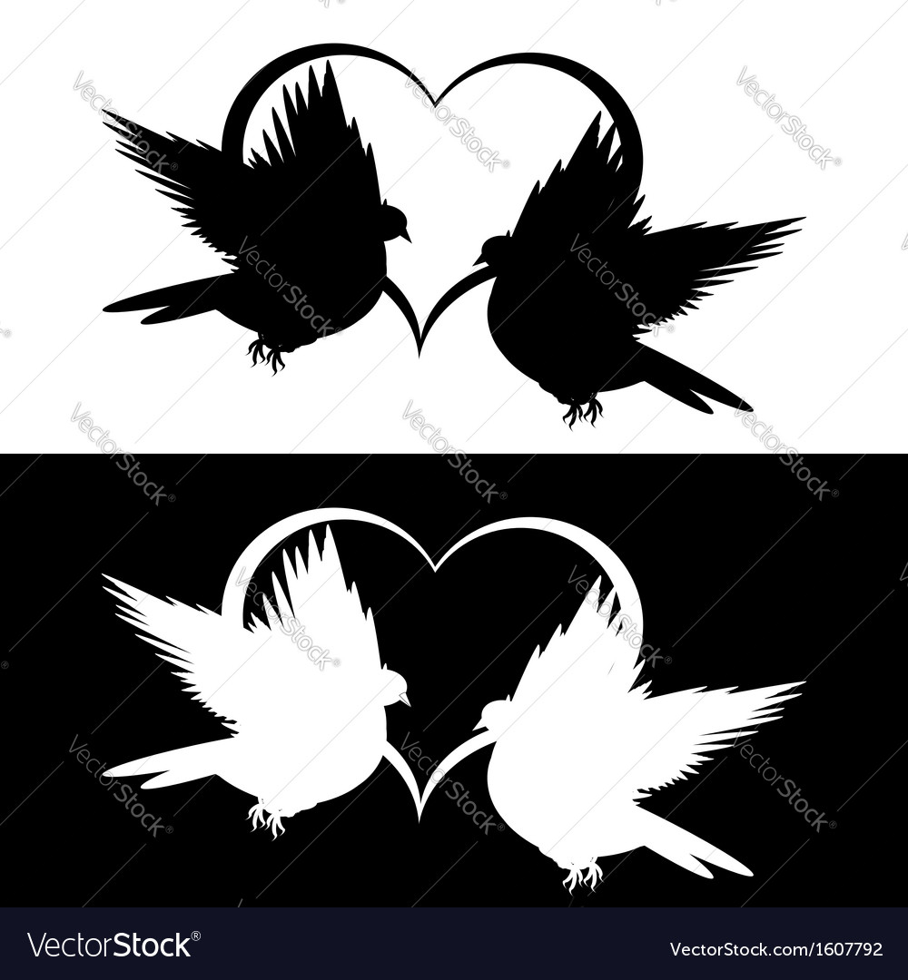 Monochrome silhouette of two doves and a heart vector | Price: 1 Credit (USD $1)